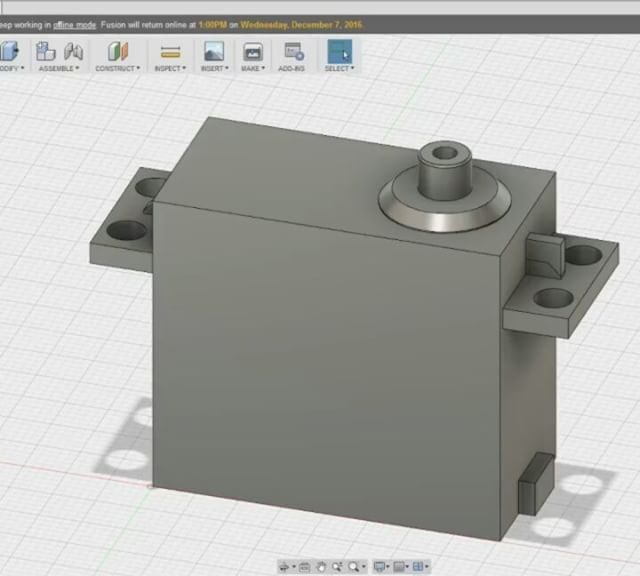 Made a servo in Fusion 360. Still getting familiar with the design flow.